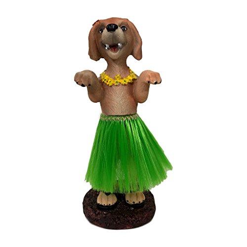 Franchise Bros Golden Retriever Dashboard Hula Dog Car Bobblehead Figurine 6 Inches Green Grass Skirt Hawaiian Lay