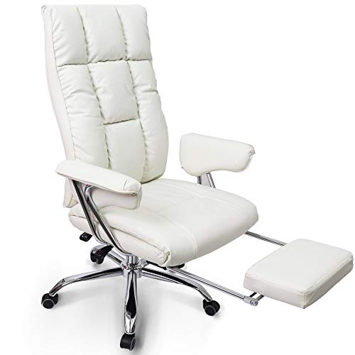 Neo Chair with Premium Foot Rest Executive Office Chair High Back PU Leather Desk Computer Task Home Chair : Spring Seat Headrest Swivel Adjustable Recline Ergonomic Shoulder and Lumbar Support