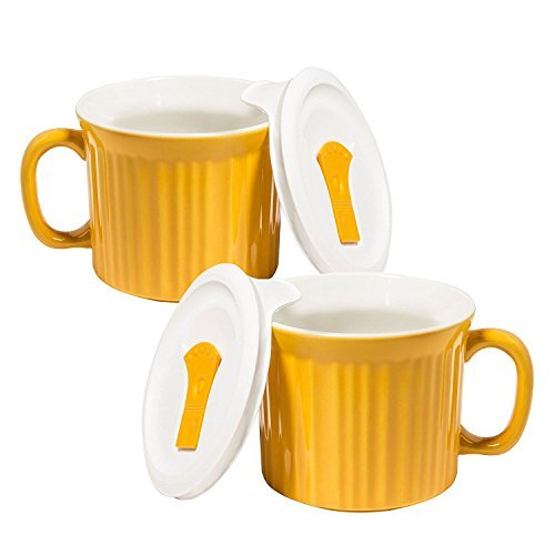 Corningware 20-Ounce Oven Safe Meal Mug with Vented Lid, Sunflower, Pack of 2 by CorningWare