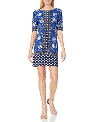 Eliza J Women's Elbow Sleeve Printed Jersey T-Body Shift Dress with Exposed Zipper
