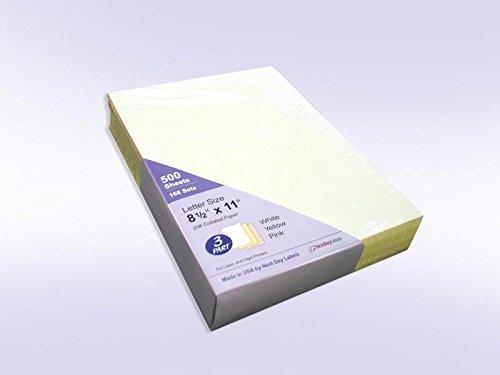 3 Part 8-1/2 x 11 ''Plain'' Collated Color Paper