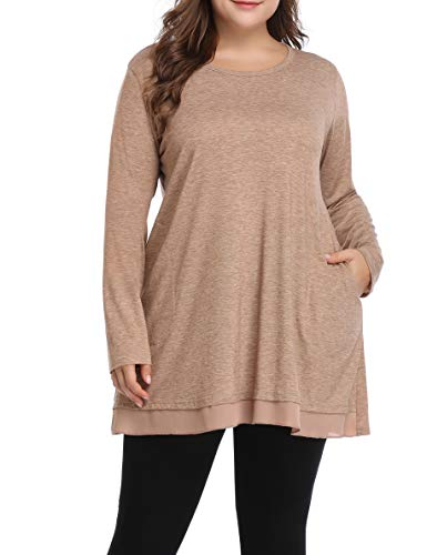Women Plus Size Spring Shirt Grace Lace Tunic Long Loose Fit Top (Khaki,3X)