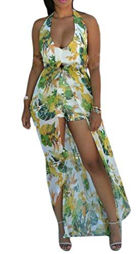 Bohemia Neck V Print Green Cute Heart amp;H Dress C Womens Halter Long Beach Chiffon Sq0zH68