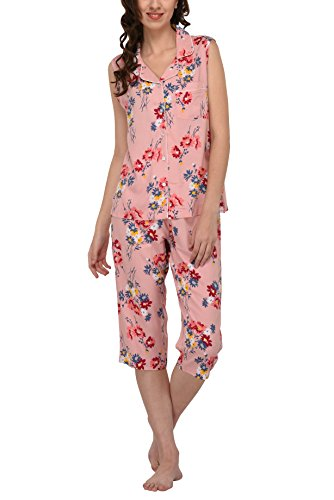 - Women's Sleepwear 2 Pc Sleeveless Pajama Notch Collar Button Down Top & Capri Set/Pajama Pant Set (Pink Floral, M)