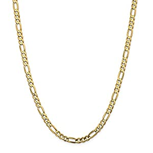 14K Yellow Gold 5.25mm Concave Open Figaro Chain