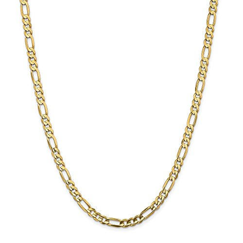14k Yellow Gold 5.50mm Concave Link Figaro Necklace Chain Pendant Charm Fine Jewelry Gifts For Women For Her ()
