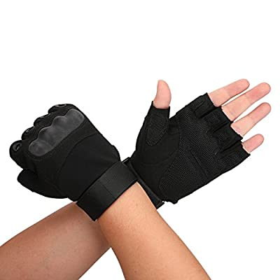 Tactical Military Rubber Hard Knuckle Outdoor Fingerless Gloves for Camping Cycling Motorcycle Hiking Powersports Airsoft Paintball