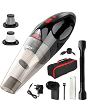 DOFLY Handheld Vacuum Cordless, 8500PA Super Suction Hand Vacuum Cleaner, Rechargeable Hand Vac with LED Light, Lightweight Wet Dry Vacuum for Home/Pet/Car Black&Red