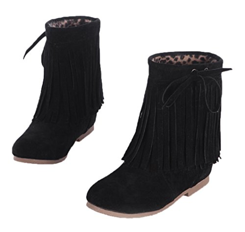 HooH Women's Tassel Boots Lace Wedge Women Boots Black 7mYRrnBN