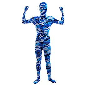 Sheface Kids Spandex Blue Camouflage Full Bodysuit Fancy Dress Costume Small P21
