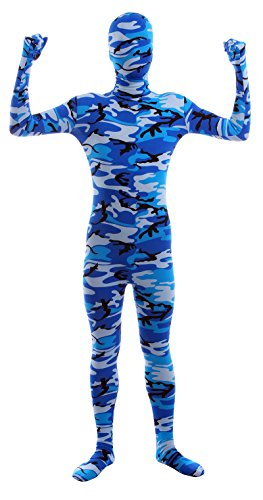 [Sheface Kids Spandex Alien Camouflage Full Bodysuit Fancy Dress Costume (Large, P21)] (Camouflage Skin Suit)