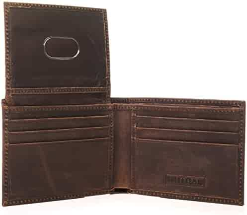 MUTBAK Citadel - RFID Blocking Bifold Wallet Passcase with Full Grain Leather and Flip Up ID (Memphis)