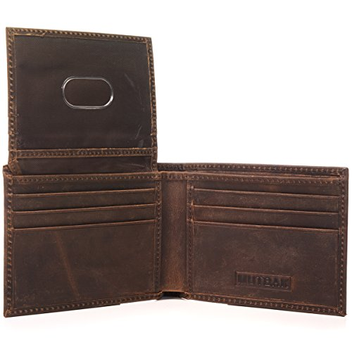 Men's RFID Blocking Bifold Wallet Passcase with Full Grain Leather Brown Wallet