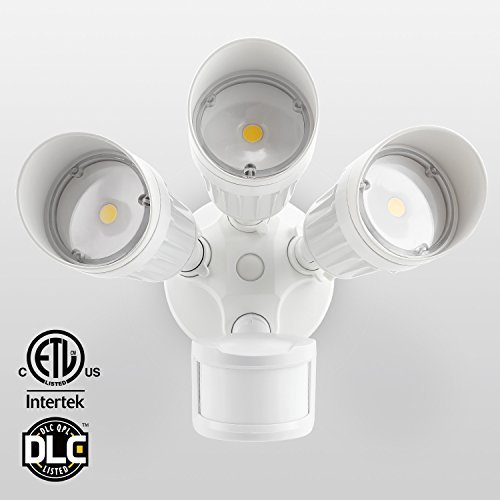 30W 3-Head Motion Activated LED Outdoor Security Light, Photo Sensor, 150W Halogen Equivalent, 5000K Daylight, 2300lm Floodlight, for Entryways, Patios, Decks, Stairs, White