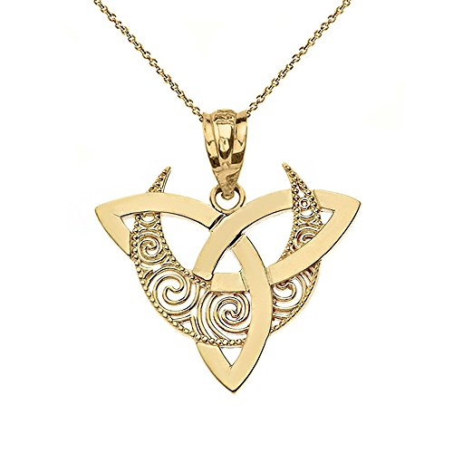 CaliRoseJewelry 10k Crescent Moon Celtic Triquetra Trinity Knot Pendant Necklace in Yellow Gold, 16