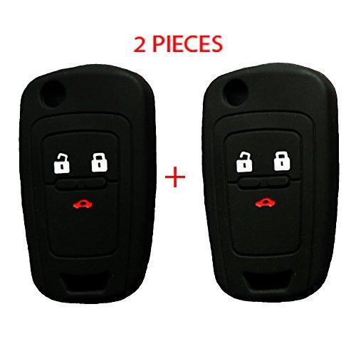 WELLSKEY 2 pcs Black Silicone Car Key Case Cover Holder Replacement 3 Buttons For Chevrolet Cruze / Aveo / Lova / Spark / Onix / Silverado / Volt / Camaro / Sonic (Chevy Cruze Spare Tire)