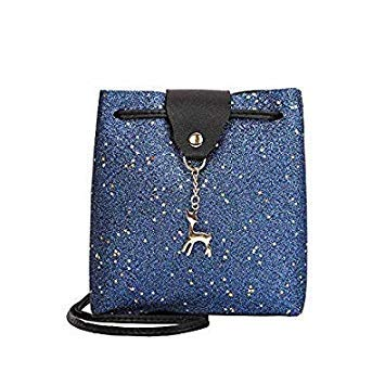 8baa8e4414d4 Mara s Dream Women Leather Handbag Lady Girl Shoulder Bag Mini Crossbody  Messenger Bag Tassel Deer Fashion Purse Tote Bags Color B Blue 19 x 18 x 7  cm  ...