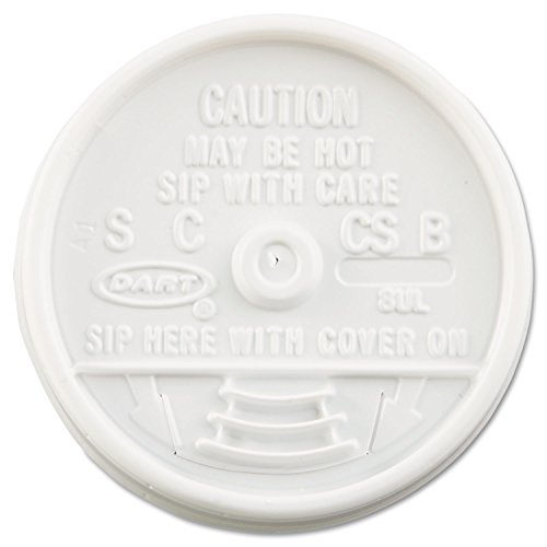DART 8UL Sip Thru Lids Fits 6-10oz Cups White 1000/Carton -