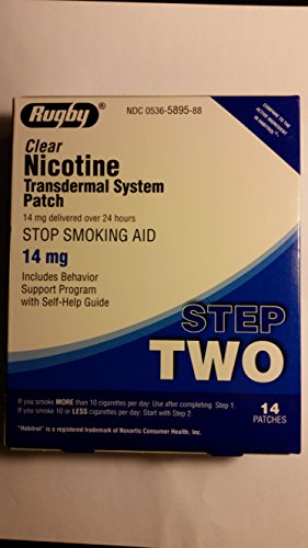 Rugby Clear Nicotine Transdermal System Step 2 ~ 14mg ~ 14 patches *Compare to Habitrol -