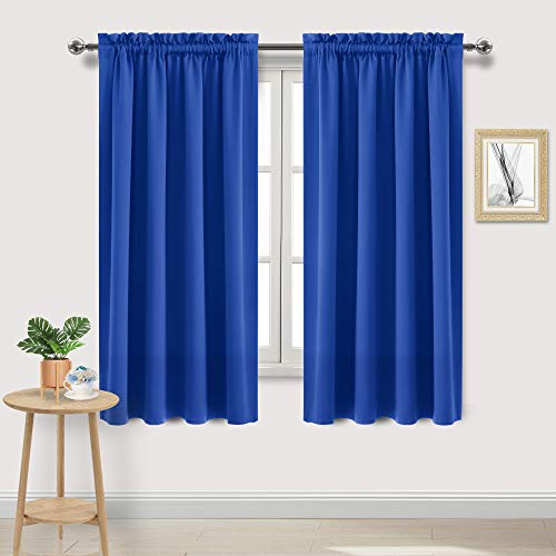 DWCN Royal Blue Room Darkening Blackout Curtains - Thermal Insulated Privacy Energy Saving Window Curtain Drapes 52 x 63 inch Length, Set of 2 Bedroom Living Room Curtains