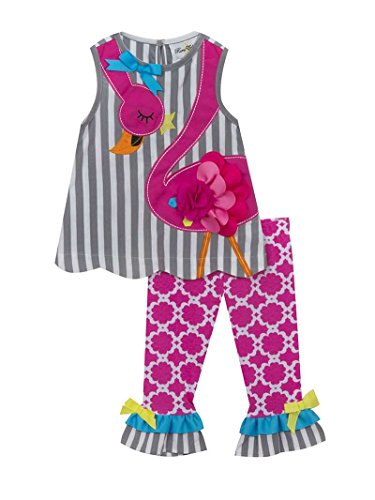Girl 4t 4 Rare Editions (Rare Editions Girls Pink and Grey Flamingo Capri Set (2t-6x) (4t/4))