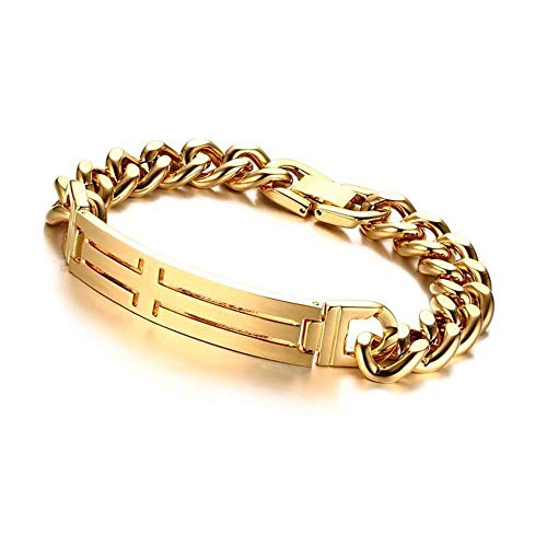MAFYU Men's Cross Men's Bracelet 21.5Cm Stainless Steel Gold Bracelet Send Relatives and Friends