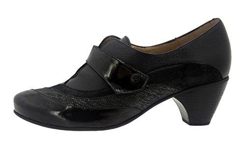 Calzado cómodo piel Carbon mujer abotinado casual 7406 ancho zapato Piesanto confort de zAzqwr6