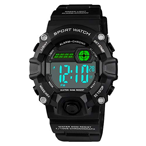 Venhoo Digital Kids Watches Outdoor Sport Waterproof Electronic LED Alarm Stopwatch Luminous Wrist Watch for Kids Boys Girls-Black ()