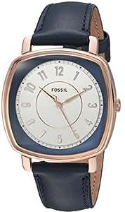 Fossil Women's ES4197 Idealist Three-Hand Navy Leather Watch
