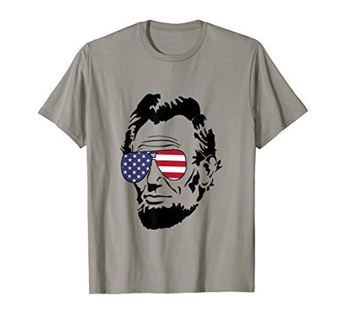 Abe Lincoln Shirt Abraham Lincoln Portrait With Flag Glasses T-Shirt