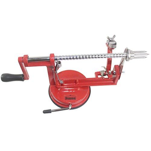 Dianoo Multifunktions Rostfreier Stahl Apfelschäler, Hobel und Entkerner mit starke Saugfuß, Arbeitet für Äpfel, Birnen, Kartoffeln, Und Mehr - Rot, 1PCS