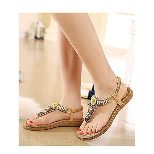 c25a393d6 Vogstyle Women Summer Bohemia Flat Sandals Elastic T-Strap Thong Sandals  Heels chic