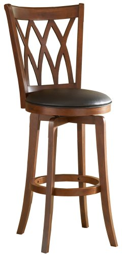 Hillsdale Mansfield 24-Inch Swivel Counter Stool, Brown Finish with Black Vinyl