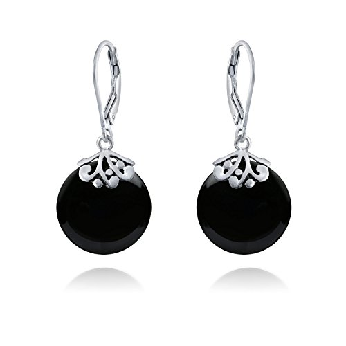 - Bali Style Black Onyx Gemstone Round Disc Filigree Drops Leverback Dangle Earrings For Women 925 Sterling Silver