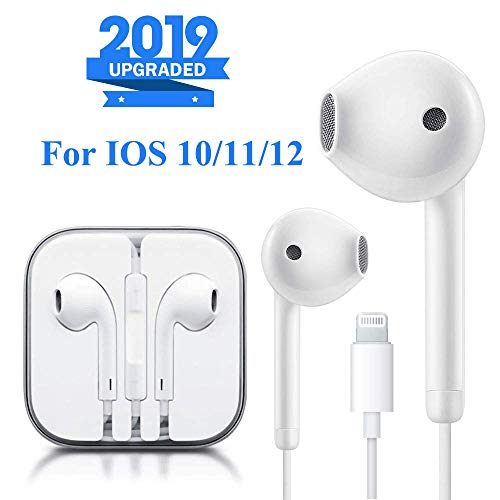 Lighting Earbuds Headphone Wired Earphones Headset with Microphone and Volume Control, Compatible with iPhone XS/XS Max/XR/X/8/8 Plus/7/7 Plus Plug and Play IOS 10/11/12