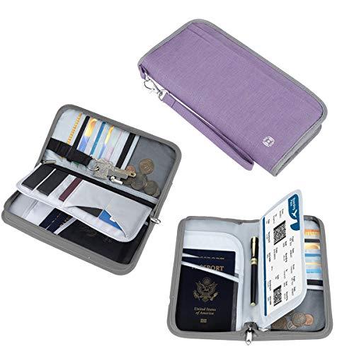 (Family Passport Holder - Vemingo RFID-Blocking Travel Wallet Ticket Holder Document Organizer with Zipper for Women & Men, Fits 5 Passports (Purple))