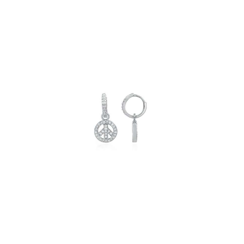 Sterling Silver Peace Sign Earrings with Clear Cz, Earrings Width of 13MM