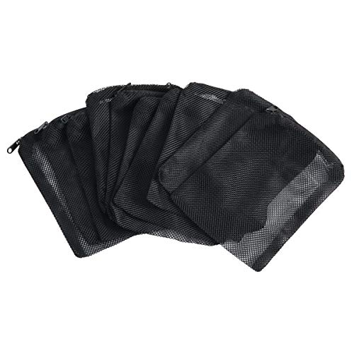 SLSON 12 Pcs Aquarium Filter Bag Nylon Media Mesh Bags Reusable Net Bags with Plastic Zipper for Fish Tank Bio Balls, Pelletized Carbon, Ammonia Remover and Ceramic Rings,Black