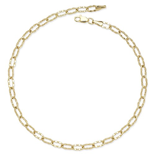JewelryWeb 14k Gold 10-inch Flat Hammered Oval Link Chain Anklet (yellow or white) -