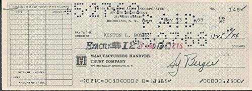 Topps Chewing Gum Processed Check To Ken Boyer Autographed Sy Berger *0149