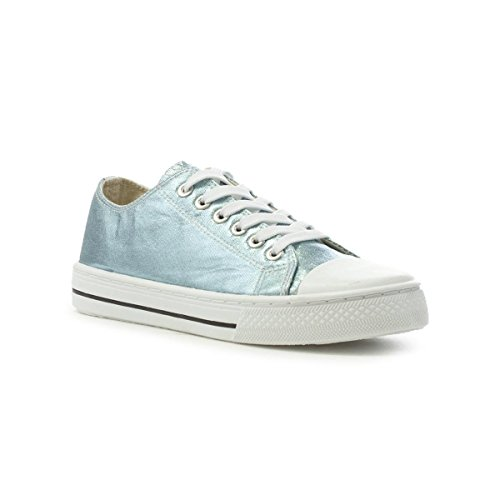Lilley Kvinna Metallisk Aqua Snörning Canvas Shoe Blue