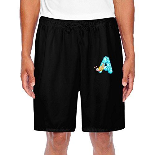 Zoena Mens Cute Ocean Animal Alphabet A Cartoon Short Walkout Pants Black Size L