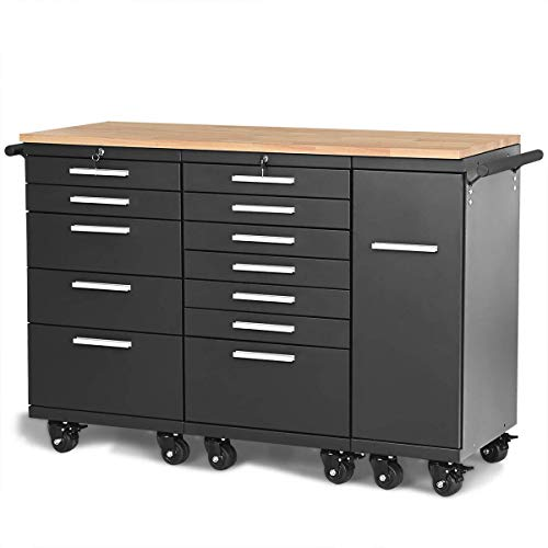 Storage Tool Chest Rolling Steel 12 Drawers with Wheels Work Station Rubber Wood Top Tool Organizer, Black ()