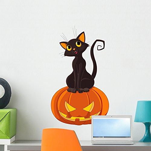 Cute Halloween Pumpkin Clipart (Wallmonkeys Halloween Cat on Pumpkin Peel and Stick Wall Decals WM113892 (24 in H x 14 in W))