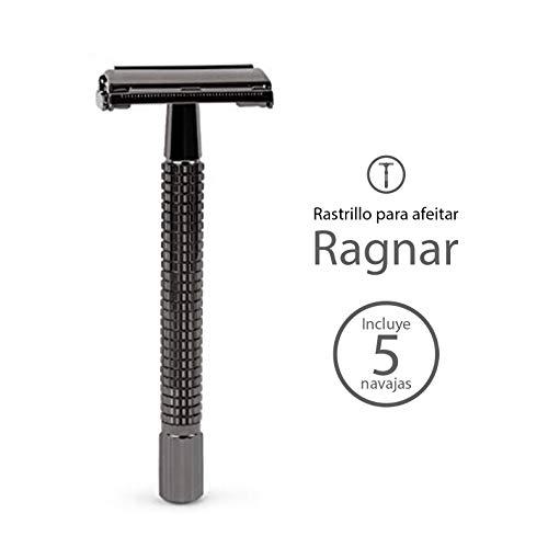Rastrillo para Afeitar de Acero Inoxidable Vintage Mamba Shave. Rastrillo de doble filo 'Ragnar Razor' de Metal para Rasurar...