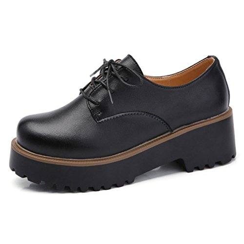 Hoxekle Womens Round Toes/Perforated/British Style/Lace Platform Oxford Shoes/Vintage Oxford Shoes Black IC1wCho0GB