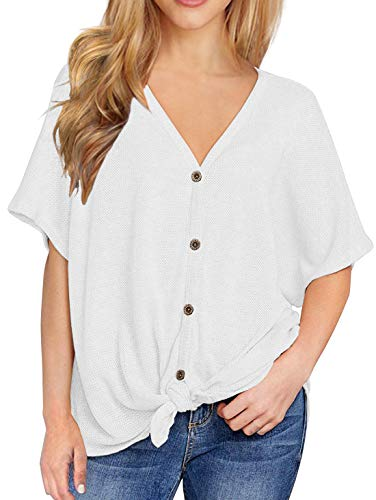 IWOLLENCE Womens Loose Henley Blouse Bat Wing Short Sleeve Button Down T Shirts Tie Front Knot Tops White M