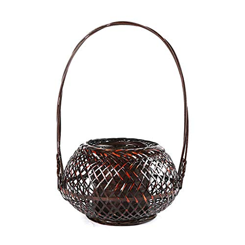 ZDD Storage Basket- Bamboo Flower Arrangement Decorative Basket Creative Flower Tube Japanese Style Flower Garden Tea House Decoration Desktop Decoration (Color : Brown, Size : 18x28cm)