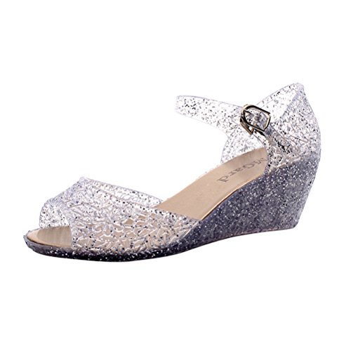 216645f287f8 OMGard Womens Summer Heels Sandals Peep Toe Wedge Glitter Jelly Shoes Ankle  Strap Platform durable service