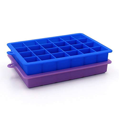 Timmins 2 Pack Silicone Ice Cube Tray Molds Candy Mold Cake Mold Chocolate Mold, 24 Perfect Sized Cubes (Blue & Purple)
